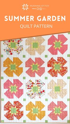 """Summer Garden Quilt Pattern by Julie Burton of Running Stitch Quilts. This modern block is a unique take on a traditional flower, and includes instructions to make blocks in 12"""" or 16"""" sizes. The Summer Garden Pattern is fat quarter and beginner friendly.  #flowerquilt #gardenquilt #runningstitchquilts #rsqpatterns #summergardenquilt Running Stitch, Summer Garden, Quilt Patterns, Quilting, Scrap, Modern, How To Make, Blog, Quilt Pattern"""