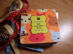 Cat Premade Mini Scrapbook Album Cat Mini Album by HampshireRose, $30.00