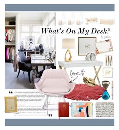 """What's on my Desk?"" by gabree on Polyvore featuring interior, interiors, interior design, home, home decor, interior decorating, PAM, Pangea, Kate Spade and Emporium Home"