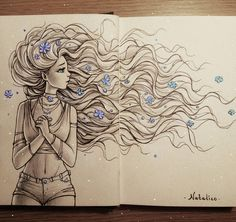 Sketchbook Drawing Wind by natalico I really appreicate natalico 's drawings everytime I see them. Girly Drawings, Art Drawings Sketches Simple, Sketchbook Drawings, Pencil Art Drawings, Pretty Drawings, Sketching, Cartoon Art, Cute Art, Deviantart