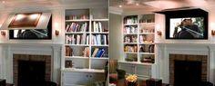 Wall unit, TV, hide TV  http://www.lushome.com/21-customized-interior-design-ideas-displaying-hiding-flat-tv/99646