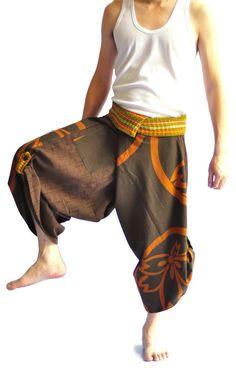 Amazon.com: Unisex Thai Fisherman Pants Yoga Trousers Free Size Cotton Brown: Clothing