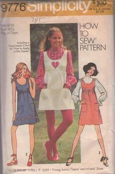 MOMSPatterns Vintage Sewing Patterns - Simplicity 9776 Vintage 70's Sewing Pattern SWEET How to Sew Scoop Neck, Empire Waist Babydoll Mod Mini Sun Dress, Jumper & Blouse, Valentine Heart Shaped Applique Size 7/8