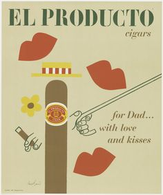 Poster, For Dad... with Love and Kisses, 1953–57; Designed by Paul Rand (American, 1914–1996); USA; offset lithograph on thin cream paper; 61.0 x 50.8 cm (24 x 20 in. ); Gift of Marion S. Rand; 2002-11-12
