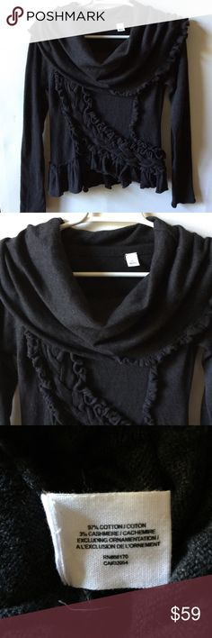 "Anthropologie Guinevere Sweeping Frills sweater Anthropologie Sweeping Frills sweater by Guinevere Charcoal gray color Cotton, cashmere  The ""Guinevere"" tag is missing.  Excellent pre-loved condition. Anthropologie Sweaters"
