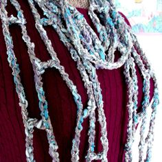 Crochet Skinny Scarf Long Airy Wrap Shawl by WildHeartYarnings, $30.00