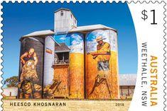 Silo art gets the stamp of approval in latest Australia Post series - ABC News Art Du Monde, Street Artists, Graffiti Artists, Sculpture Art, Metal Sculptures, Abstract Sculpture, Bronze Sculpture, Old Barns, Western Australia