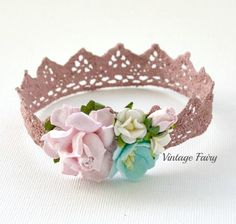 Welcome to Vintage Fairy  These lace crowns are so delicate and sweet for a newborn baby's photo shoot. Perfect just to sit on her head while she sleeps. Gorgeous soft colours in this crown will match in nicely with most colours used for your photo props. Delicate flowers decorate this pretty crown