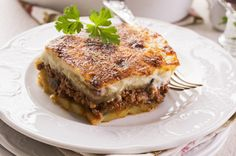 Fleisch - Moussaka mit Auberginen Griechischer Auberginen-Hack-Auflauf