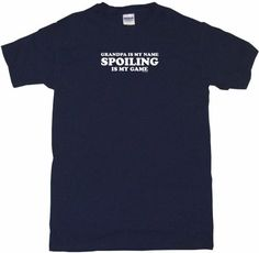 Grandpa Is My Name Spoiling Is My Game Mens Tee Shirt 2XL-Navy