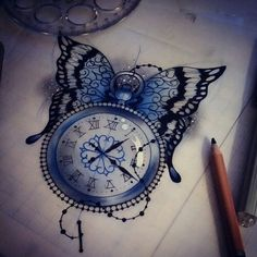 Clock and butterfly tattoo by Sophie Adamson