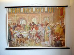 Vintage Pull chart Medieval Court History chart by Berlinattic, €199.00