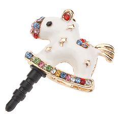 Cristallo di Bling Cavallo Orecchio Anti spina della polvere Copertina Charm per iPhone 5/4/Samsung S3 e Note 2 – EUR € 2.87