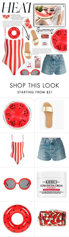 """Summer Heat"" by glamorous09 ❤ liked on Polyvore featuring Happy Plugs, J.Crew, Solid & Striped, RE/DONE, Preen, Kiehl's, Sunnylife, Casetify, Summer and watermelon"