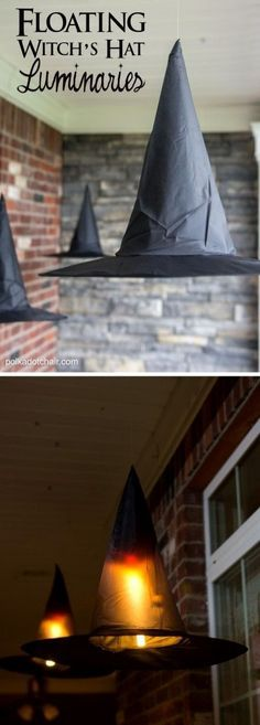 These floating witch's hats are a fun decoration to add to your porch this Halloween, they even light up at night!