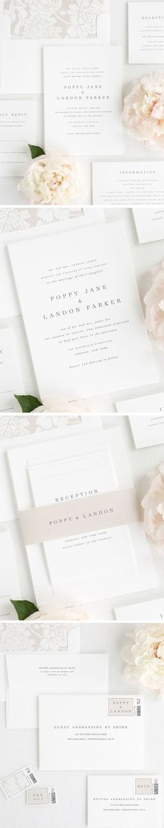 Meet Poppy, our simple and sophisticated wedding invitation design. Poppy has a mix of classic and romantic elements which makes this design so gorgeous. Italics and small caps play a big role in creating such a simple design that is perfectly classic and