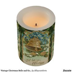 Vintage Christmas Bells and Gold Pine Cones Flameless Candle