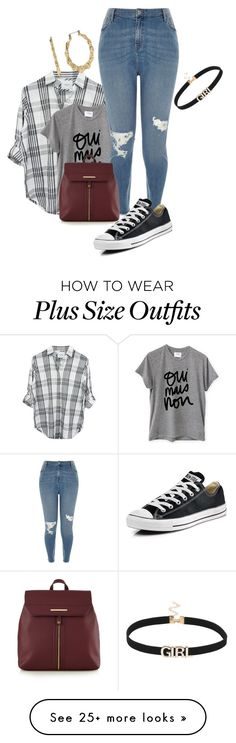"""""""Plus size cute and simple college lk"""" by xtrak on Polyvore featuring Rails, Sincerely, Jules, River Island, Red Herring, Converse and Betsey Johnson"""
