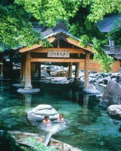 Mixed Outdoor Hot Spring Bath at Bunzan Ryokan in Gunma Prefecture