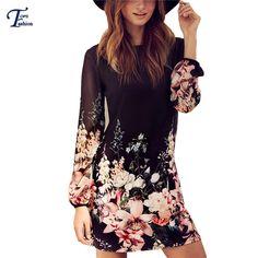 Mulheres estilo primavera 2016 mais novo turno vestidos preto bonito manga comprida impressão Floral em torno do pescoço Chiffon vestido curto