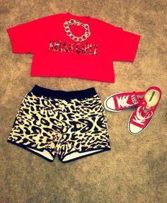 Cheetah Print Shorts w/ Crop Top & Red Converse