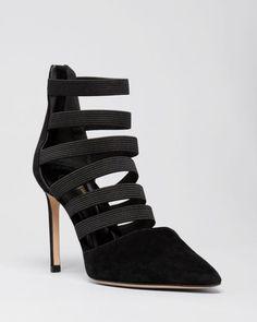 Delman Pointed Toe Pumps - Bae Multistrap High Heel