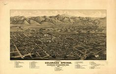 8 x 12 Reproduced Photo of Vintage Old Perspective Birds Eye View Map or Drawing of: Panoramic Colorado Springs, Colorado City and Manitou, Colo. Stoner, J. Colorado Springs, Colorado City, Birds Eye View Map, Manitou Springs, Atlas, Vintage Drawing, Vintage Maps, Vintage Prints, Vintage Photos