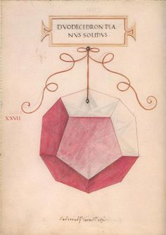 """Illustrations of various geometric figures by Leonardo da Vinci for Luca Pacioli's """"De Divina Poroportione"""" - the only thing da Vinci had a hand in that was published during his life time."""