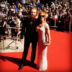 Cannes Film Festival Kristofer Hivju and his Gorgeous Wife Gry Molvær wearing Norwedgian designer Judith Bech