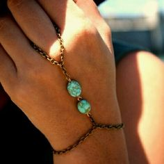 Turquoise & Brass Chain Ring/Bracelet... this is exactly what i was gonna make... i already got the chain and beads.... wow weird!