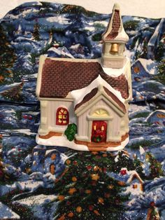 "Christmas Village Church 3 1/2"" Wide By 5"" Tall Ceramic"