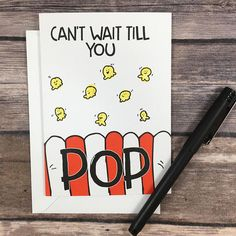 Funny Baby Shower Popcorn Pun Card – expecting card – pregnancy card – new mom card – congratulations new baby girl boy – The Paper Cicada Funny Greeting Cards – Homemade baby foods