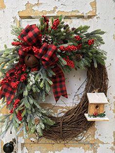 Rustic Christmas Wreath Christmas Birdhouse wreath Winter