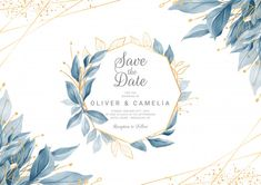 Modern navy blue wedding invitation card template with watercolor floral frame and border. Greenery floral border save the date, invitation, greeting card vector - Buy this stock vector and explore similar vectors at Adobe Stock Wedding Invitation Card Template, Beautiful Wedding Invitations, Elegant Wedding Invitations, Wedding Invitation Templates, Adobe Illustrator, Design Floral, Floral Watercolor, Watercolor Wedding, Watercolor Leaves