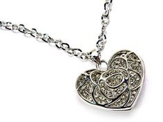 Image of Rose Heart Rhinestone Charm and Necklace