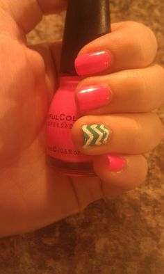 My Pink and teal chevron nails