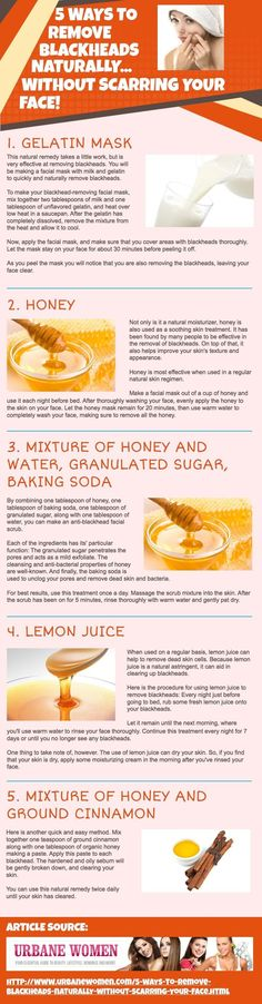5 Ways To Remove Blackheads Naturally... Without Scarring Your Face! Remove bl Jackie ideas an Urania turnout scanner vein rues gelatin mask this natural remedy takes a little work but is very effective at removing blackheads you will be making a facial... Infographic