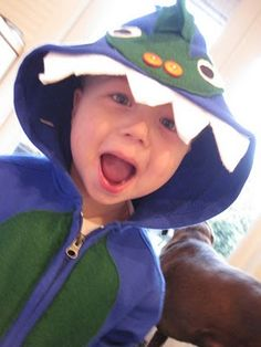 Love the teeth in the hood detail Kids Dress Up Costumes, Toddler Boy Halloween Costumes, Dinosaur Halloween, Dinosaur Costume, Dinosaur Party, Dinosaur Birthday, Fall Halloween, Halloween Ideas, Costume Ideas