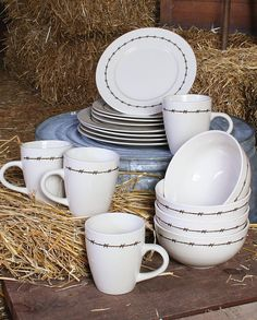 moss brothers inc western barbwire 16pc dish set kitchenware home