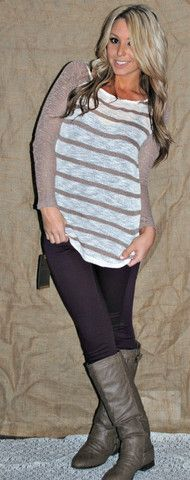 KNITS & STRIPES LONG SLEEVE TOP and her hair!! Loveee