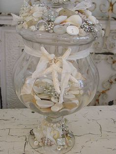 Shabby chic romantic cottage / ocean mermaid starfish glass bowl / container / so pretty! home decorating ideas