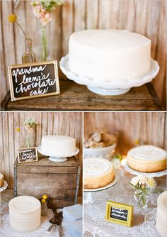 a sign announcing grandma's recipe is a loving way to personalize Your dessert table & memorialize those who have passed away.  You can incorporate their crates, assorted cake stands and assorted glass bottle and frames as well.  This is a sweet look for a bridal shower, anniversary party, morning after brunch or even Your rustic / farm/ country Wedding table.