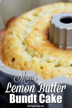 Mom's Lemon Butter Bundt Cake -- Your soul will be satisfied with a crispy, buttery bottom similar to old-fashioned buttermilk donuts. Kissed with the refreshing flavor of lemon, this is a must have t (Bundt Cake Recipes) Lemon Desserts, Lemon Recipes, Just Desserts, Sweet Recipes, Baking Recipes, Cake Recipes, Lemon Cakes, Moist Lemon Pound Cake, Coconut Cakes