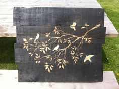 How to transfer art to black stained wood panels. I definitely like the black stained wood better than the whitewash.