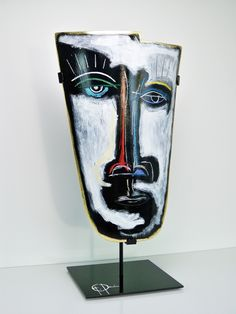 """New sculpture """"Take off your Mask"""" - 20×11 inches - Acrylics, oil pastel and ink on ceramic"""