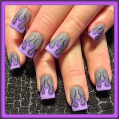 pink, purple, grey, gray, nail polish, flames, fire, matte