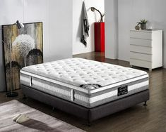 The premium quality knitted fabric covering provides an inviting look and gives your mattress a smooth and silky softness. Our Knitted Fabric is superior to damask/jacquard fabric used by many other sellers. Euro Top Mattress, King Size Mattress, Queen Mattress, Best Mattress, Queen Size Bedding, Jacquard Fabric, Knitted Fabric, Mattress Springs, Australia Living