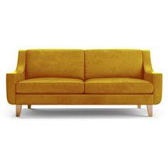Sofa BedSleeper Sofa Joybird Furniture Ryder Mid Century Modern Yellow Leather Corner liked on Polyvore featuring home furniture sofas yellow mid cent u