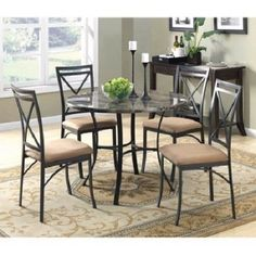 Round Dining Table And Chairs Set Faux Marble Top 5 Pieces Furniture Home Decor #RoundDiningTableAndChairsSet #Contemporary