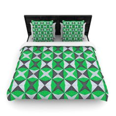 """Empire Ruhl """"Silver and Green Abstract"""" Green Black Woven Duvet Cover 